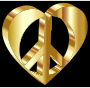 3D Peace Heart Mark II Gold Variation 2 With Background