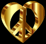 3D Peace Heart Mark II Gold Variation 2 Enhanced Contrast With Background