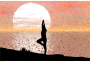 Low Poly Sunset Reflection Female Yoga Pose