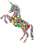 Chromatic Checkered Unicorn Silhouette