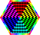 Colorful remix of the chessboard hexagon