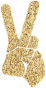 Gold Tiled Peace Sign Silhouette Smoothed Variation 2 No Background