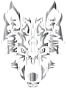 Chrome Symmetric Tribal Wolf No Background