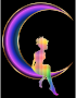 Chromatic Fairy Sitting On Crescent Moon