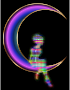Chromatic Fairy Sitting On Crescent Moon Enhanced