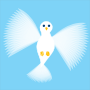 Flying Dove Blue background no outlines