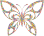 Polyprismatic Tiled Tribal Butterfly Silhouette