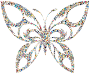 Iridescent Psychedelic Tribal Butterfly Silhouette
