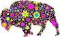 Floral Bison Silhouette