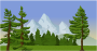Mountain scene with pine trees
