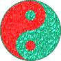 Filtered Bright Red and Dark Greenish Cyan Yin-Yang