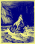 Charon, by Doré 1857 (in blue ink on yellow paper)