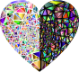 Low Poly Shattered Chromatic Heart With Background 2