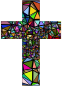 Low Poly Stained Glass Cross With Background