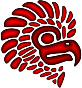 Crimson Stylized Mexican Eagle Silhouette