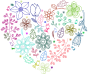 Prismatic Neon Floral Heart No Background