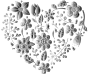 Grayscale Floral Heart No Background