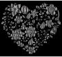 Grayscale Floral Heart 2