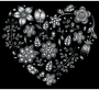 Grayscale Floral Heart 3