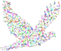 Prismatic Flying Peace Dove Typography No Background
