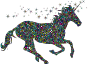 Polyprismatic Tiled Magical Unicorn Silhouette With Background