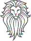 Polyprismatic Tiled Lion Face Tattoo With Background
