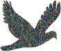 Polyprismatic Tiled Flying Dove Silhouette With Background