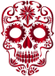 Vermilion Sugar Skull Silhouette No Background