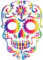 Rainbow Sugar Skull Silhouette No Background