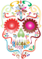 Prismatic Sugar Skull Silhouette No Background