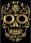 Polished Copper Sugar Skull Silhouette