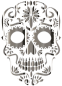 Chrome Sugar Skull Silhouette No Background