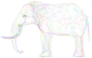 Prismatic Low Poly 3D Elephant Wireframe No Background