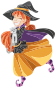Happy Cartoon Witch Isolated