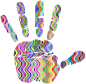 Prismatic Waves Handprint Silhouette