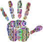 Prismatic Waves Handprint Silhouette 3