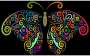 Prismatic Floral Flourish Butterfly Silhouette 2