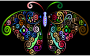 Prismatic Floral Flourish Butterfly Silhouette 3