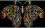 Prismatic Floral Flourish Butterfly Silhouette 5