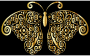 Gold Floral Flourish Butterfly Silhouette