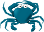 Blue cartoon crab