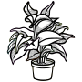 potted plant - lineart