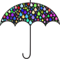 Prismatic Rain Drops Umbrella Silhouette