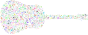 Prismatic Musical Notes Old Fashioned Guitar No Background