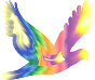 Chromatic Flying Dove Silhouette