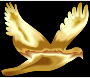 Gold Flying Dove Silhouette