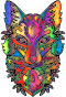 Prismatic Ornamental Fox Line Art Enhanced