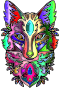 Chromatic Ornamental Fox Line Art Enhanced