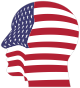 Man Head America Flag With Stroke