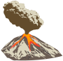 Erupting volcano with ash plume and lava flow Thumbnail